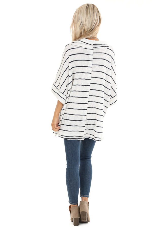 Ivory and Navy Striped Loose Fit Knit Top with Cowl Neck back full body
