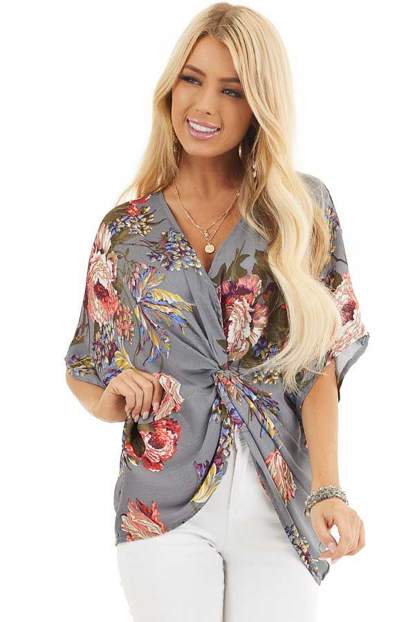 Slate Grey Floral Print Reversible Top with Twist Detail front close up