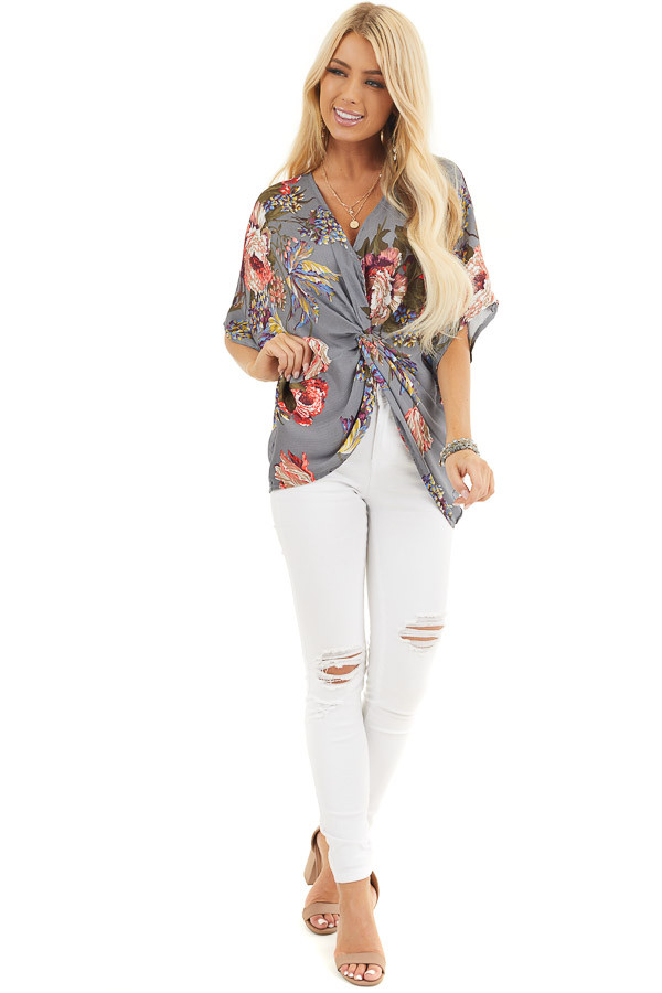 Slate Grey Floral Print Reversible Top with Twist Detail front full body