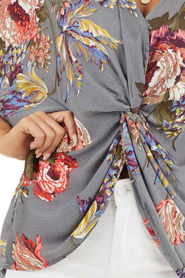 Slate Grey Floral Print Reversible Top with Twist Detail detail