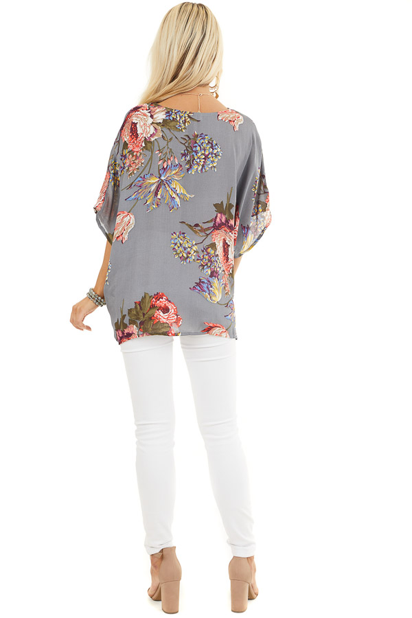Slate Grey Floral Print Reversible Top with Twist Detail back full body