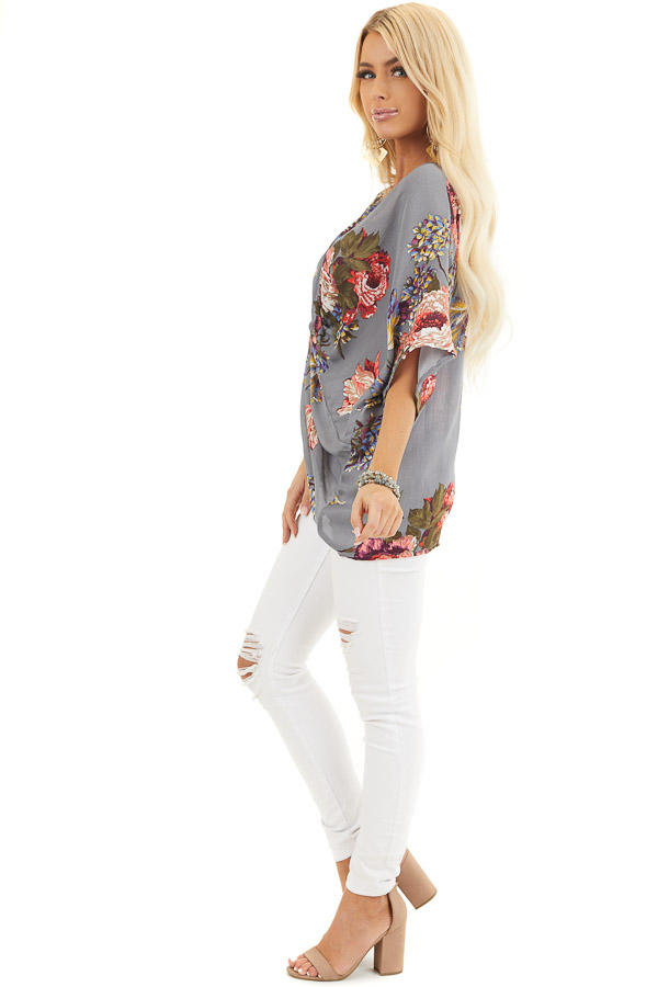 Slate Grey Floral Print Reversible Top with Twist Detail side full body