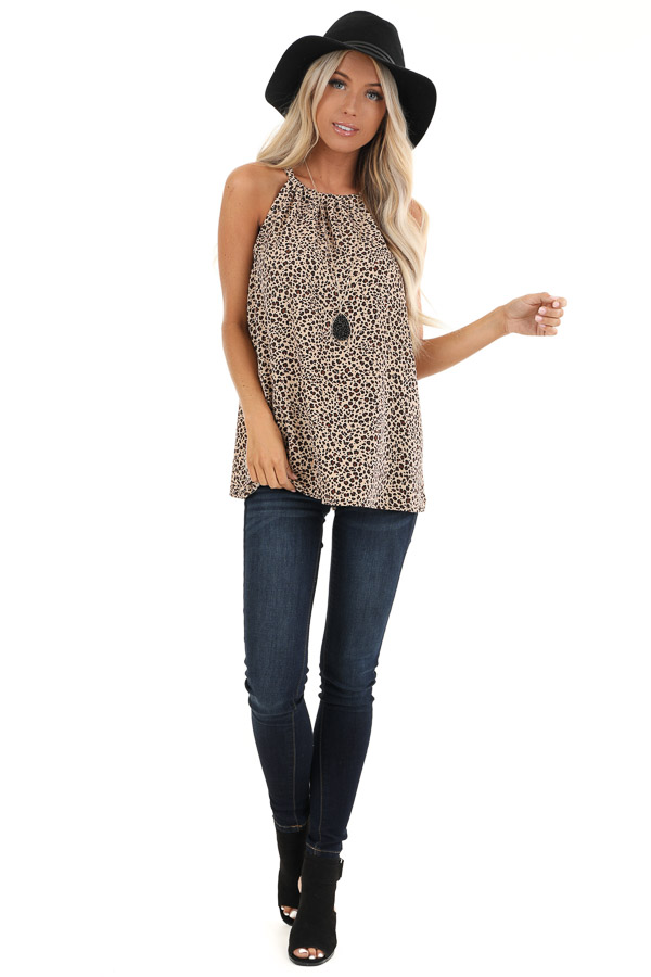 Tan Leopard Print Halter Tank Top with Neck Tie Detail front full body