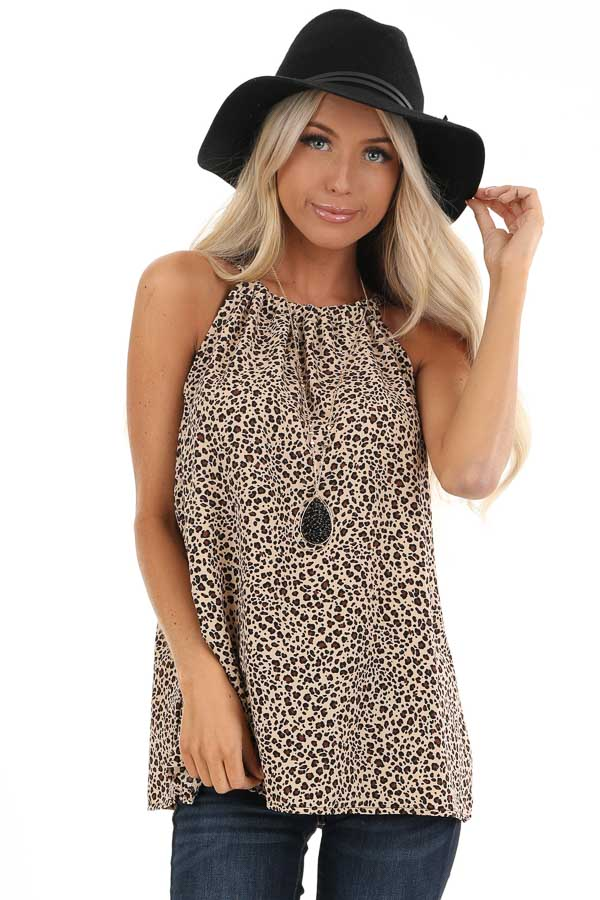 Tan Leopard Print Halter Tank Top with Neck Tie Detail front close up