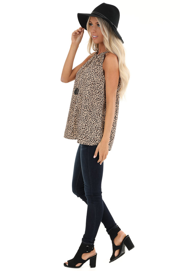 Tan Leopard Print Halter Tank Top with Neck Tie Detail side full body