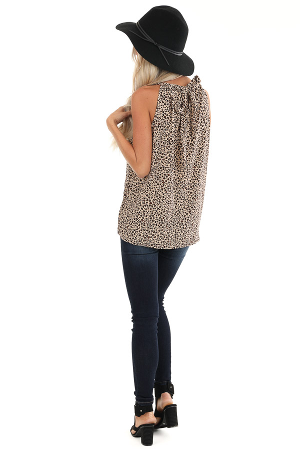 Tan Leopard Print Halter Tank Top with Neck Tie Detail back full body