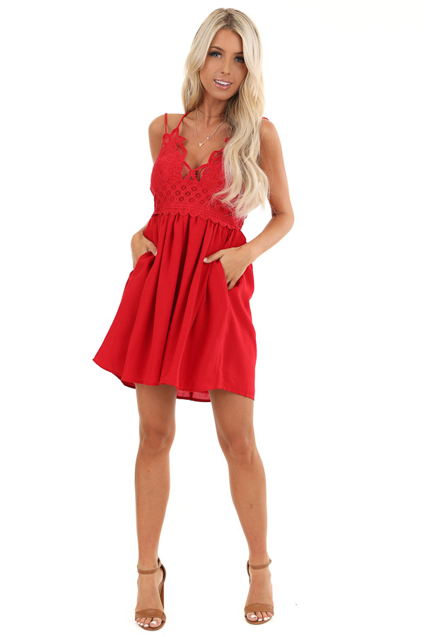 Red Lace Mini Dress with Criss Cross Straps and Pockets front full body