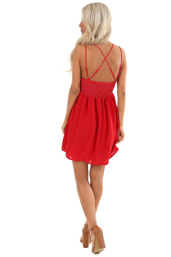 Red Lace Mini Dress with Criss Cross Straps and Pockets back full body