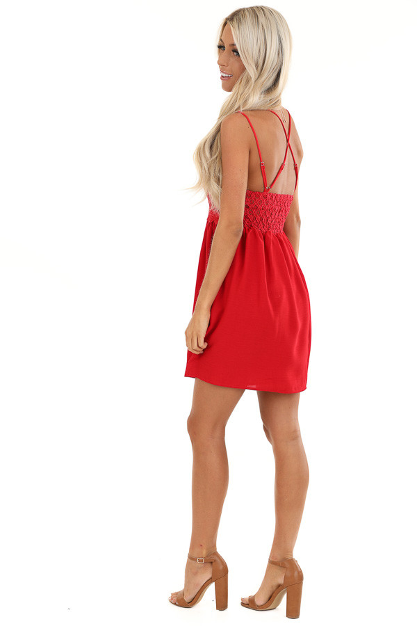 Red Lace Mini Dress with Criss Cross Straps and Pockets side full body