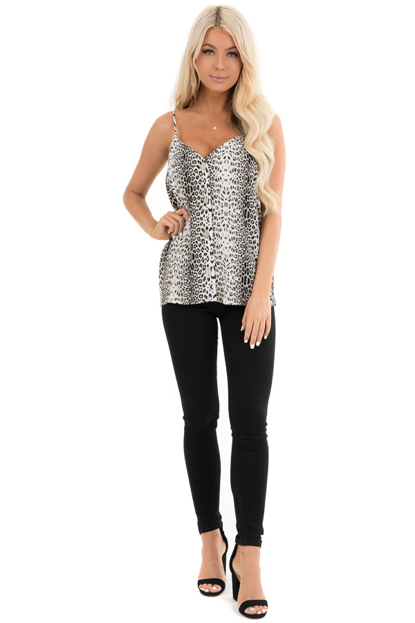 Snowy White Leopard Print Tank with Button Up Detail front full body