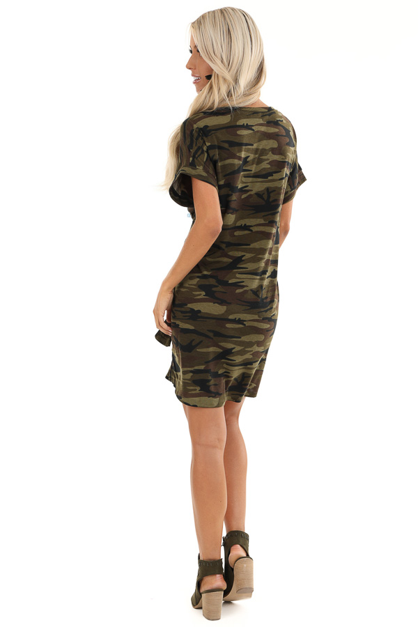 Army Green Camo Print Mini Dress with Front Tie back full body