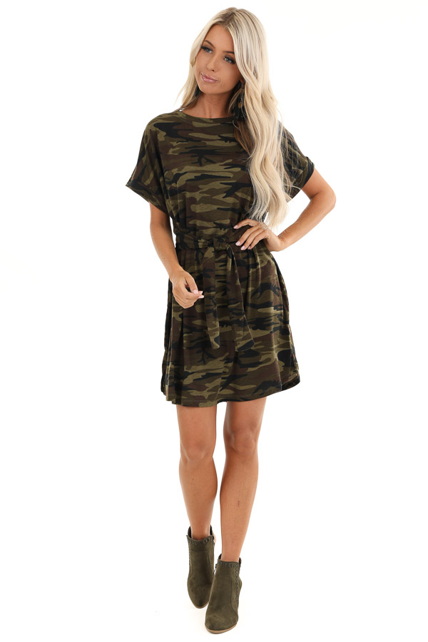 Army Green Camo Print Mini Dress with Front Tie front full body