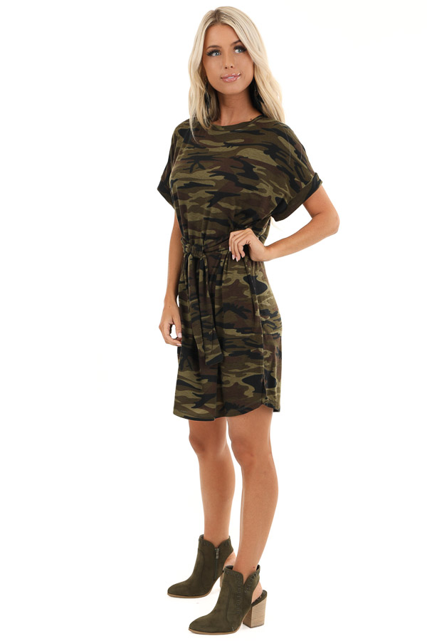 Army Green Camo Print Mini Dress with Front Tie side full body