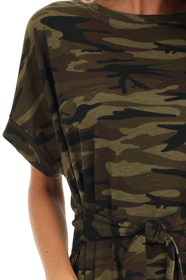 Army Green Camo Print Mini Dress with Front Tie detail