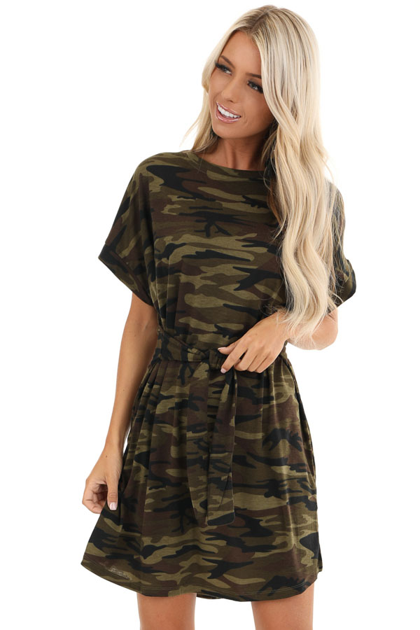 Army Green Camo Print Mini Dress with Front Tie front close up