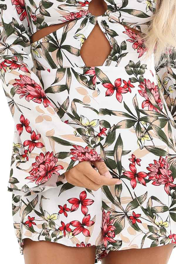 White Floral Print Romper with Front Cutout Details detail