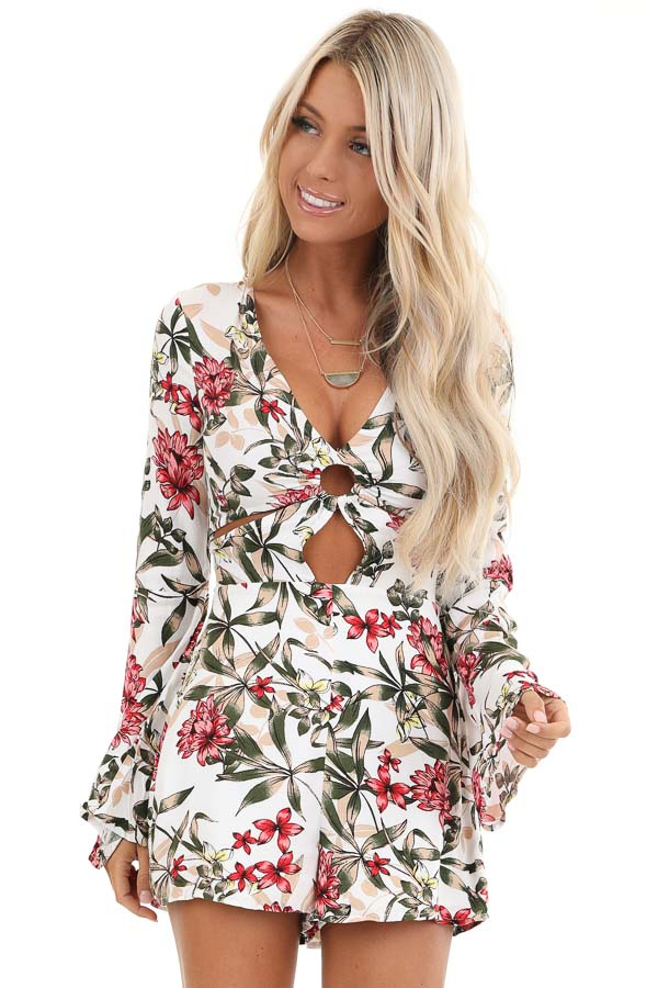 White Floral Print Romper with Front Cutout Details front close up