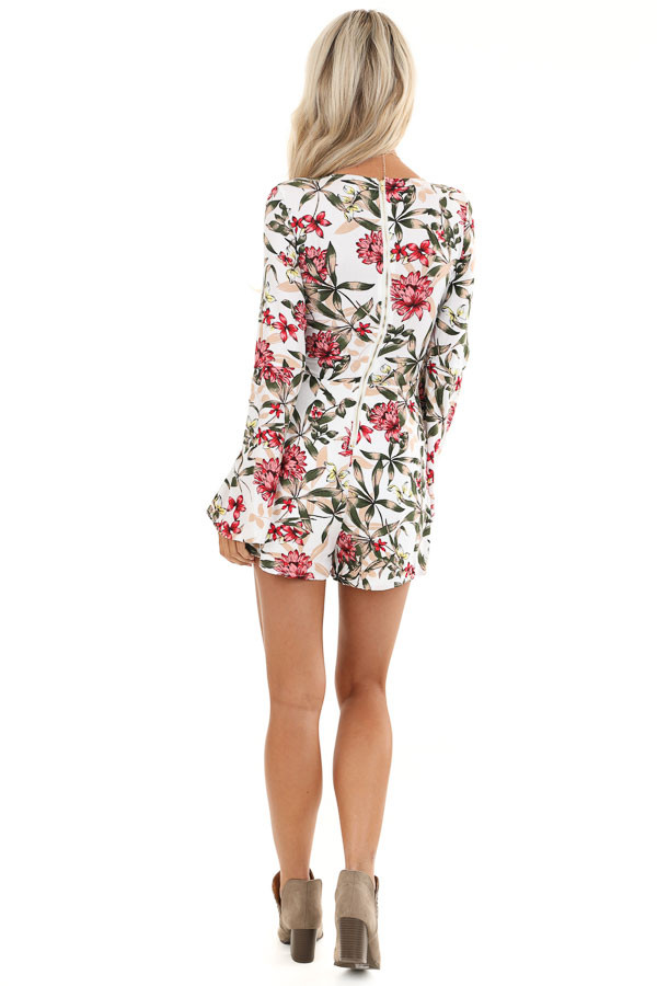 White Floral Print Romper with Front Cutout Details back full body