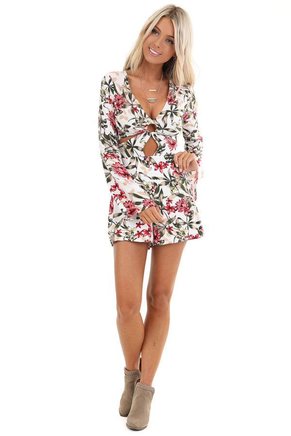 White Floral Print Romper with Front Cutout Details front full body