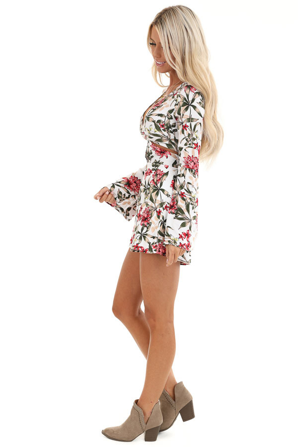 White Floral Print Romper with Front Cutout Details side full body