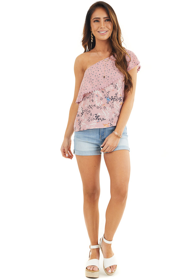 Dusty Pink One Shoulder Top with Layered Ruffle Detail front full body