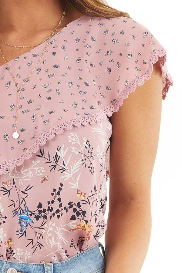 Dusty Pink One Shoulder Top with Layered Ruffle Detail detail