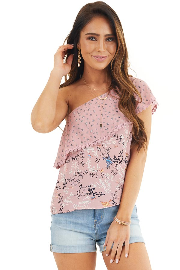 Dusty Pink One Shoulder Top with Layered Ruffle Detail front close up