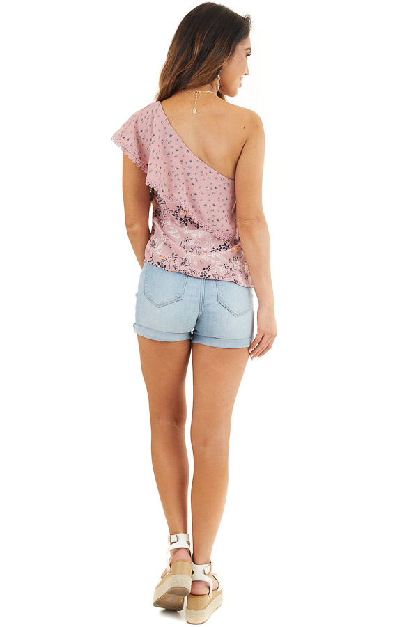Dusty Pink One Shoulder Top with Layered Ruffle Detail back full body
