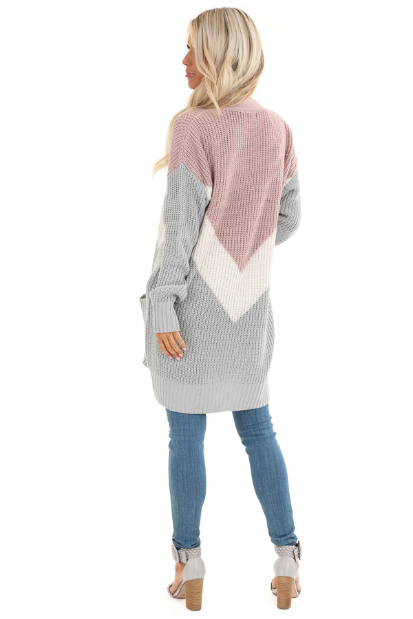 Lilac Color Block Knit Cardigan with Pockets back full body