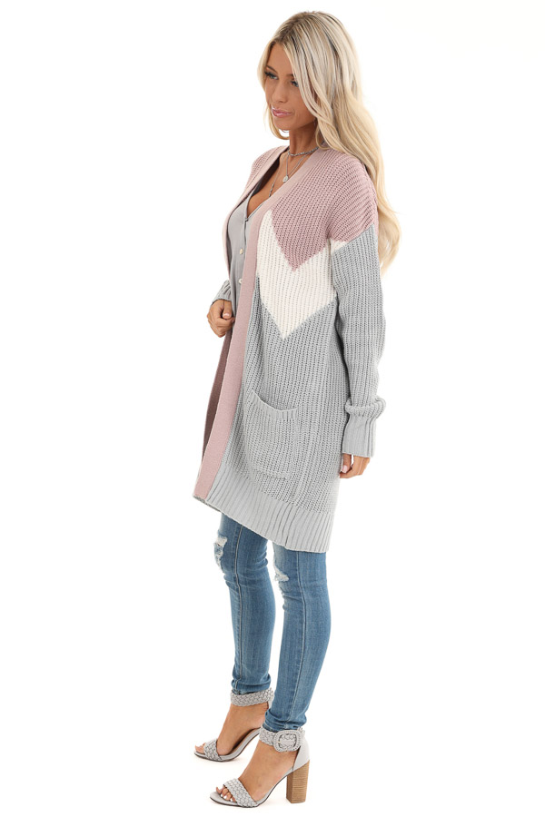 Lilac Color Block Knit Cardigan with Pockets side full body