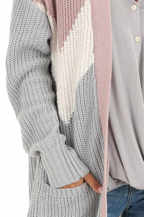 Lilac Color Block Knit Cardigan with Pockets detail