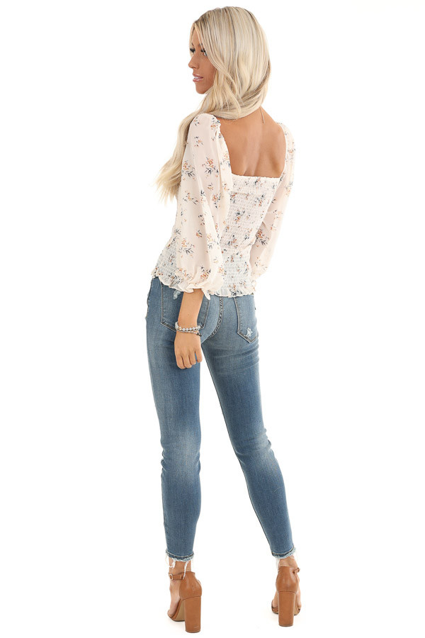 Cream Floral Smocked Top with Bubble Sleeves back full body