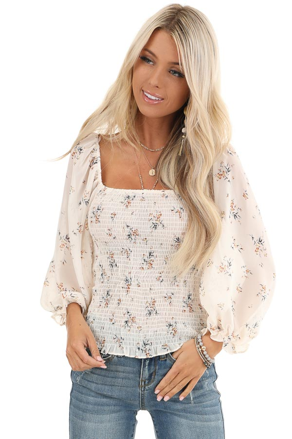 Cream Floral Smocked Top with Bubble Sleeves front close up