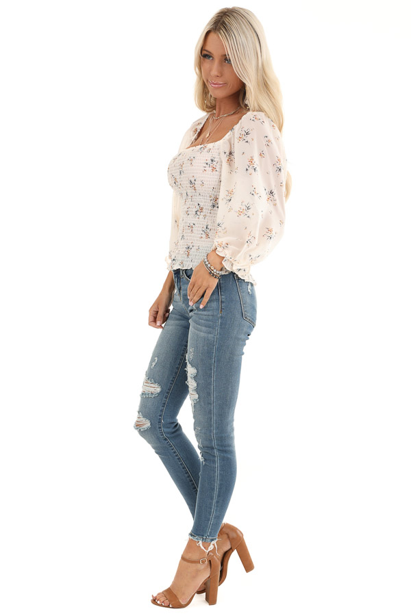 Cream Floral Smocked Top with Bubble Sleeves side full body