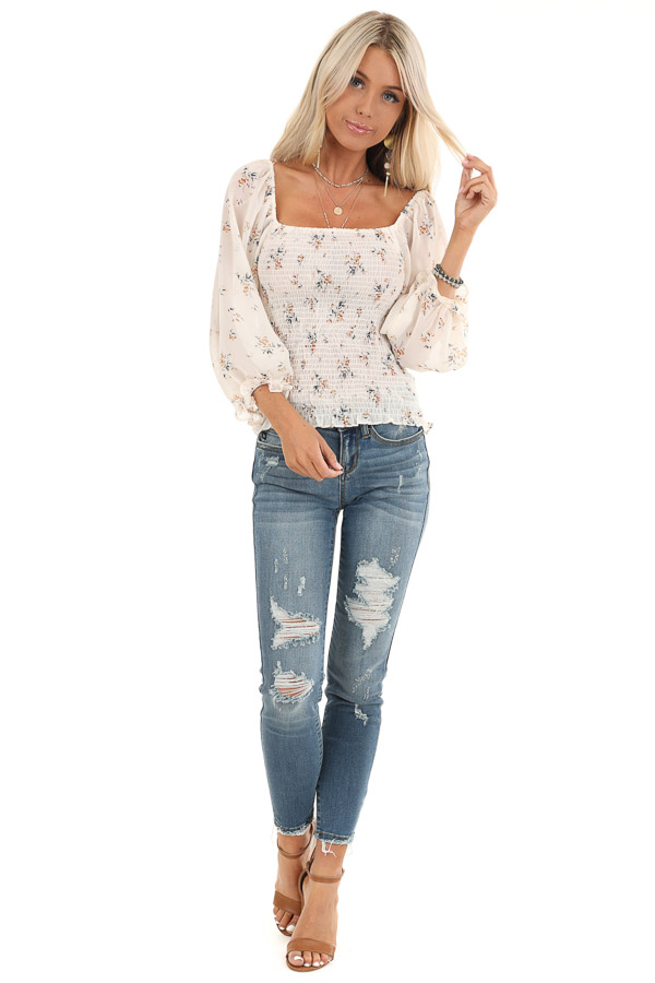 Cream Floral Smocked Top with Bubble Sleeves front full body