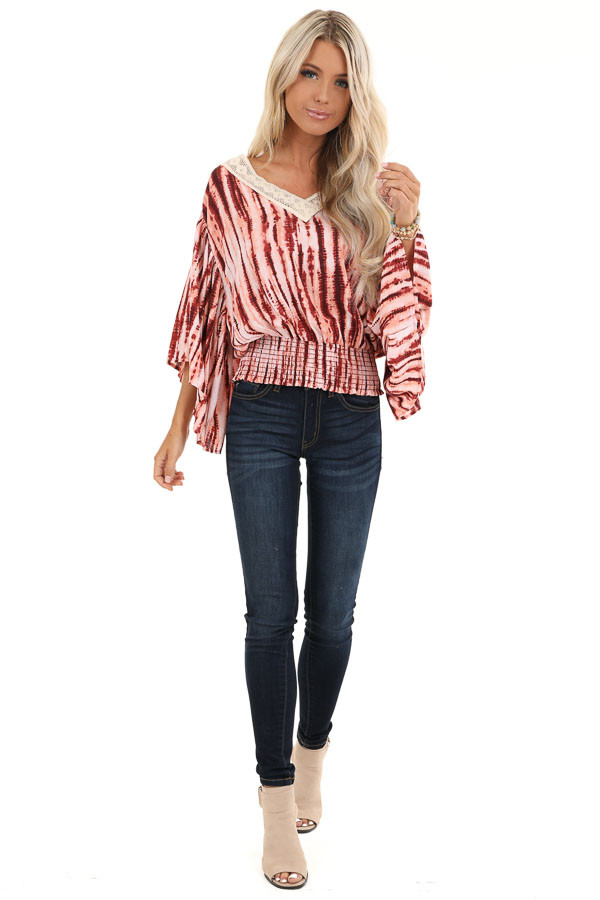 Blush and Wine Tie Dye Print Top with Sheer Lace Trim Detail front full body