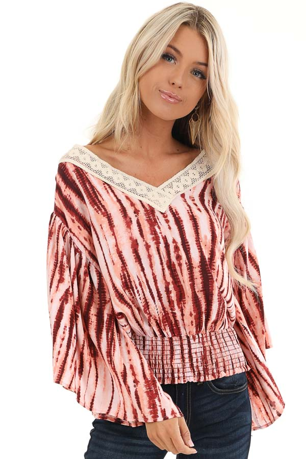 Blush and Wine Tie Dye Print Top with Sheer Lace Trim Detail front close up