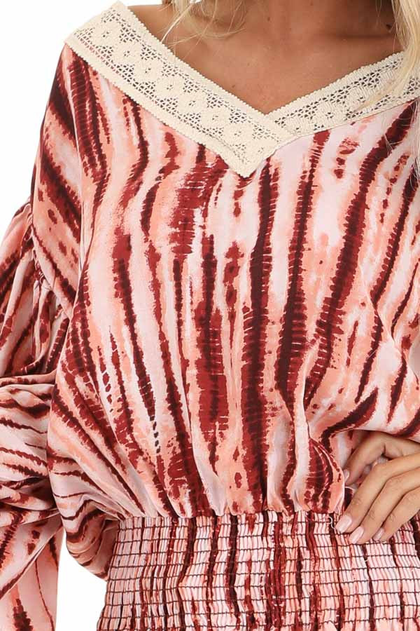 Blush and Wine Tie Dye Print Top with Sheer Lace Trim Detail detail