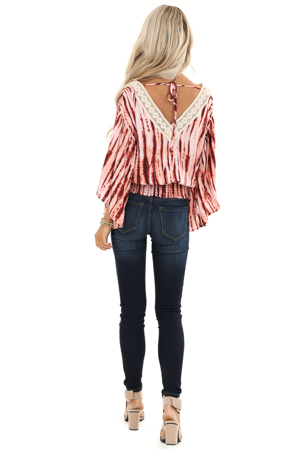Blush and Wine Tie Dye Print Top with Sheer Lace Trim Detail back full body