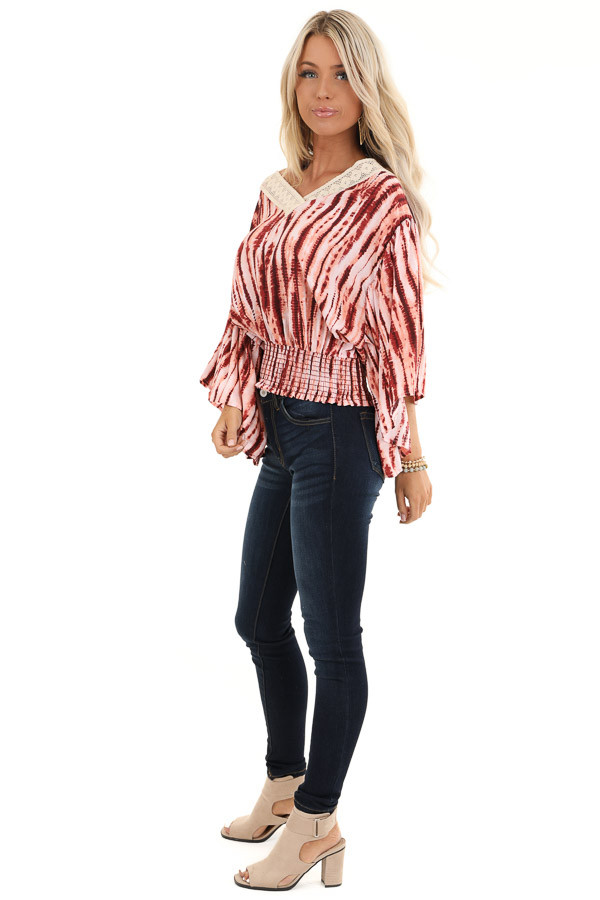 Blush and Wine Tie Dye Print Top with Sheer Lace Trim Detail side full body