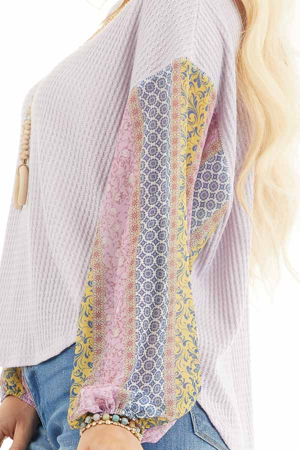 Lavender Long Sleeve Top with Contrast Multi Print Sleeves detail