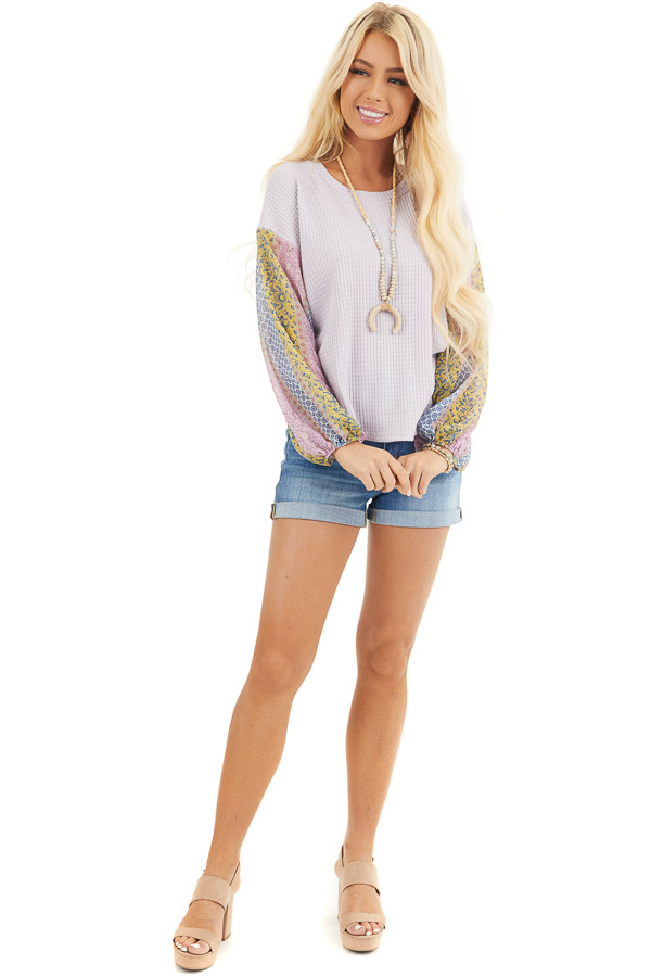 Lavender Long Sleeve Top with Contrast Multi Print Sleeves front full body