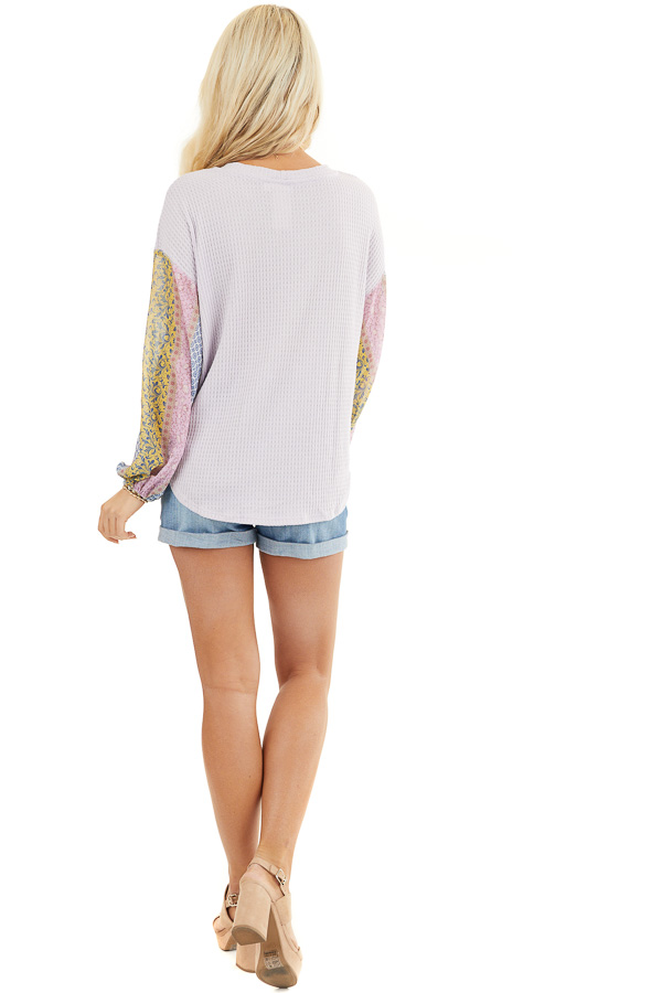 Lavender Long Sleeve Top with Contrast Multi Print Sleeves back full body