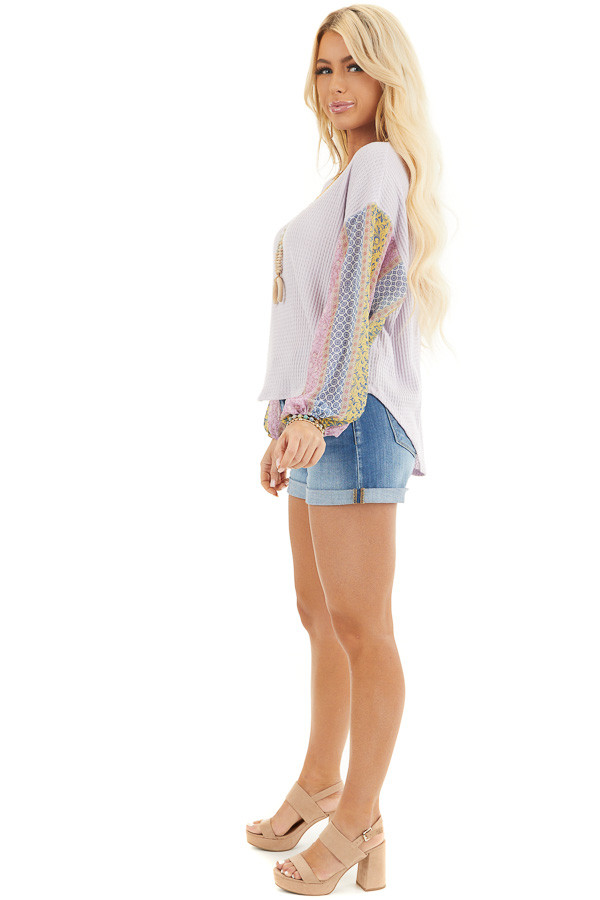 Lavender Long Sleeve Top with Contrast Multi Print Sleeves side full body