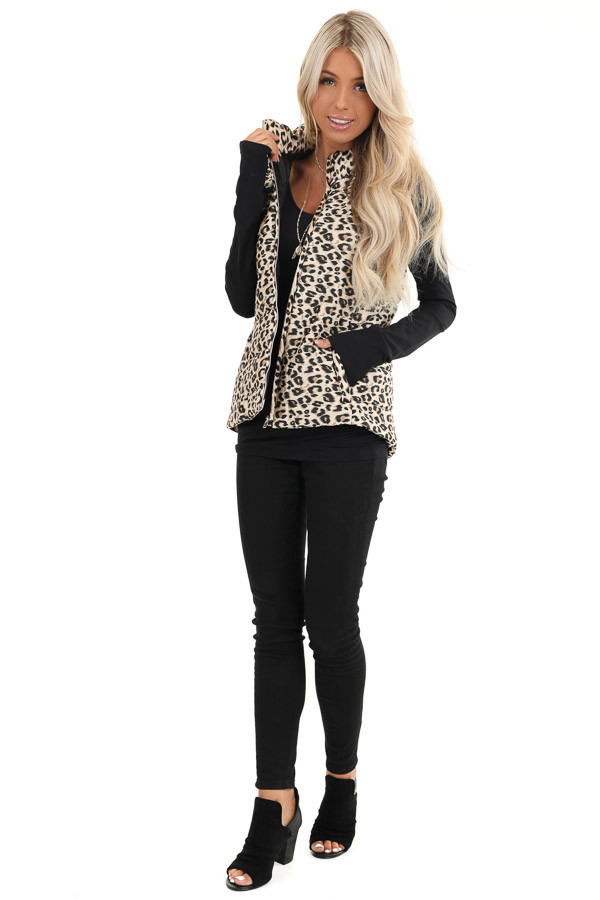 Cream Leopard Print Puffy Vest with Side Pockets front full body