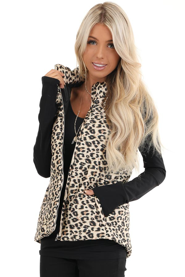 Cream Leopard Print Puffy Vest with Side Pockets front close up