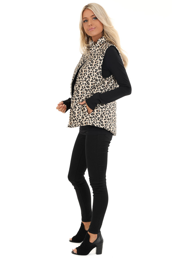 Cream Leopard Print Puffy Vest with Side Pockets side full body