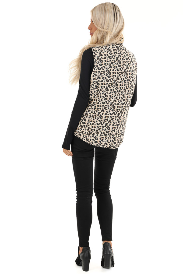 Cream Leopard Print Puffy Vest with Side Pockets back full body