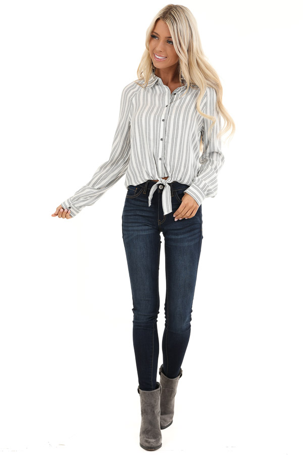 White and Charcoal Striped Button Up Top with Front Tie front full body