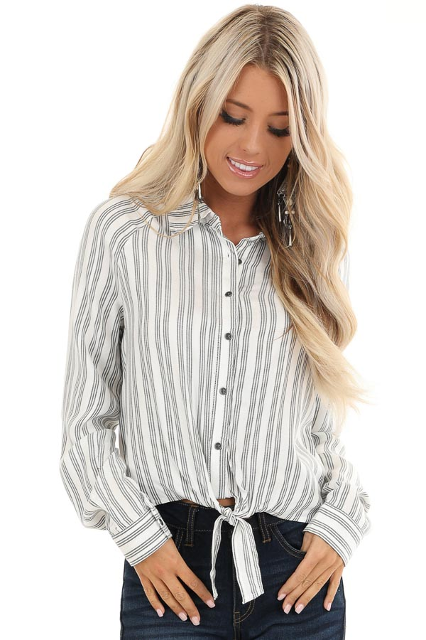 White and Charcoal Striped Button Up Top with Front Tie front close up